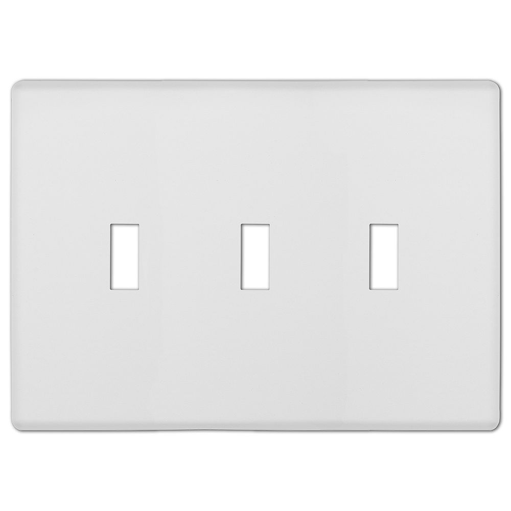 Amerelle Siena Screwless 3 Toggle Wall Plate Steel White