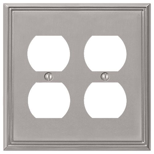 Amerelle Metro Line 2 Duplex Wall Plate Cast Brush Nickel