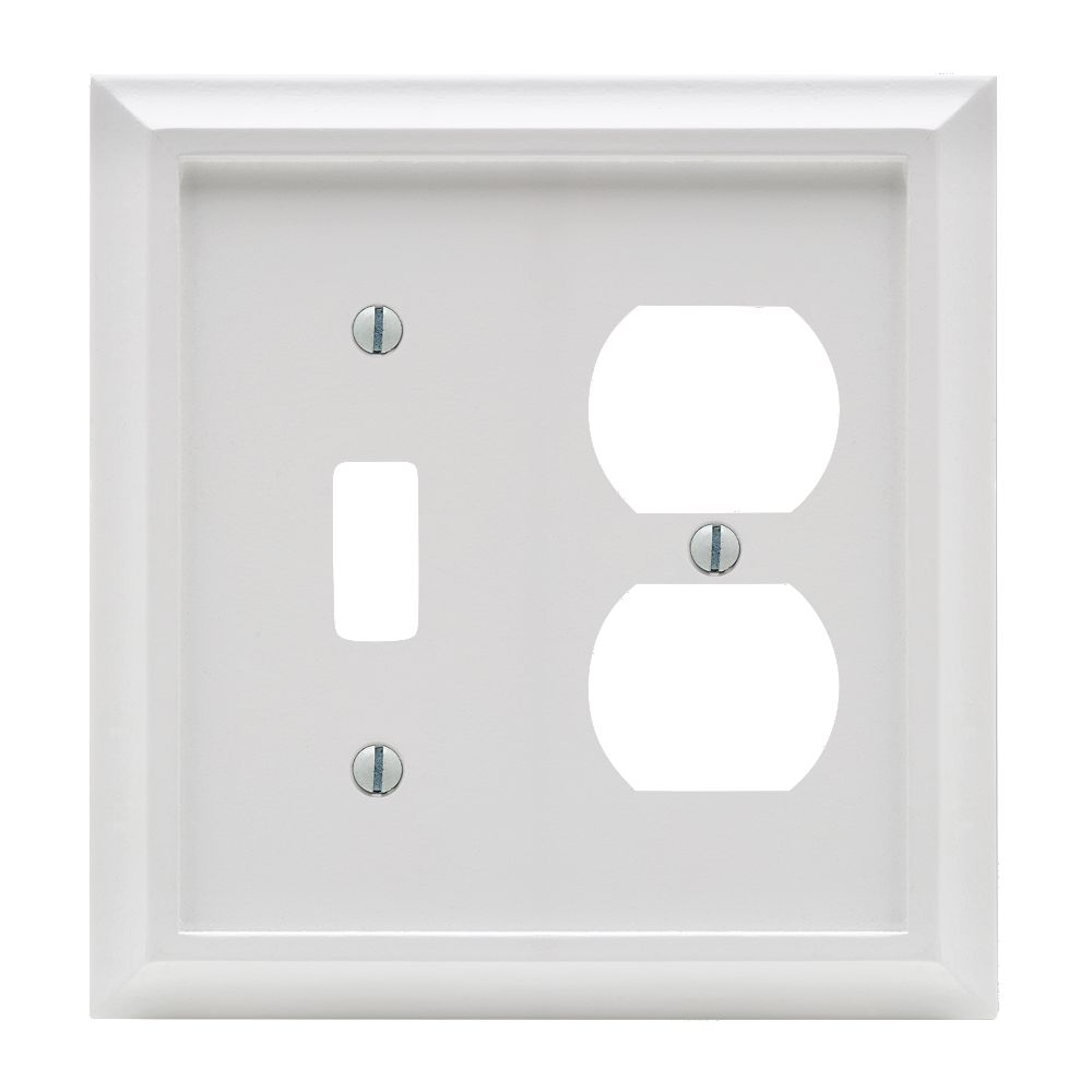 Amerelle Deerfield 1 Toggle 1 Duplex Wall Plate White Wood