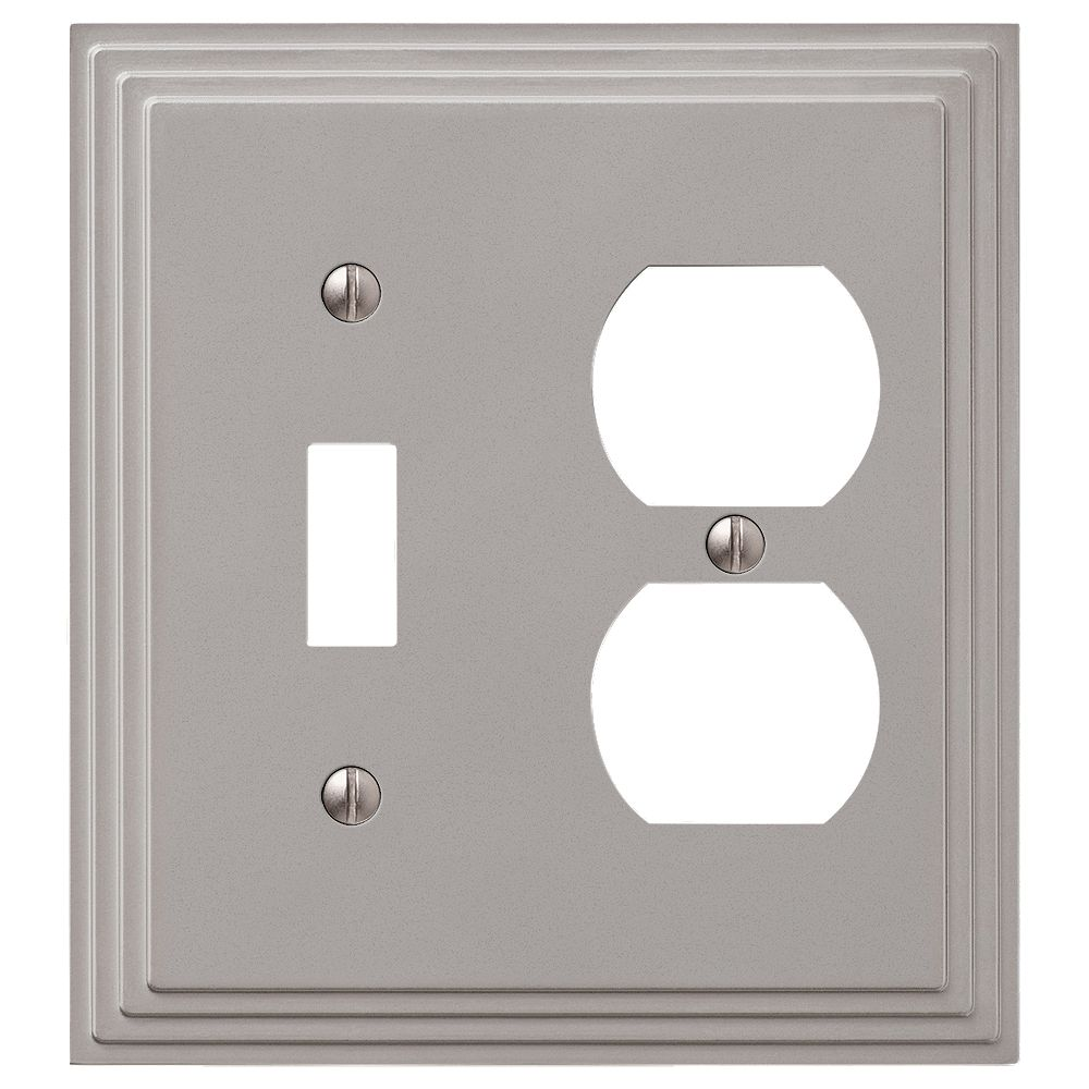 Amerelle Steps 1 Toggle 1 Duplex Wall Plate Satin Nickel