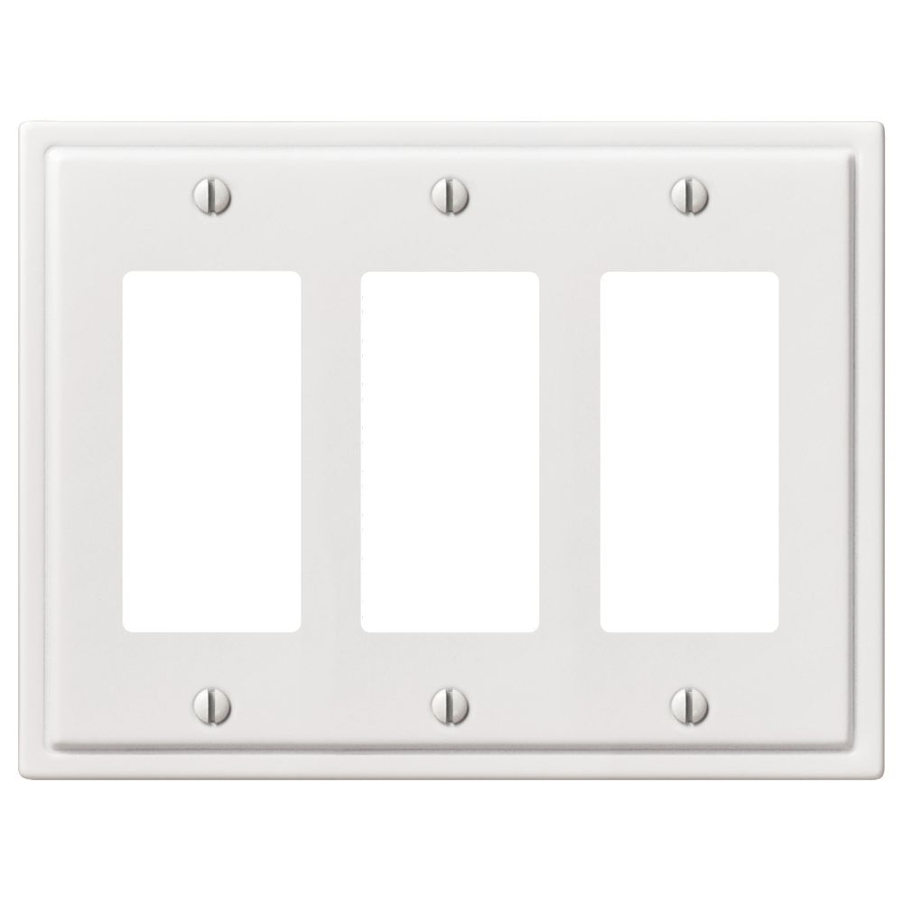 Amerelle Moderne 3 Décor Wall Plate White Steel