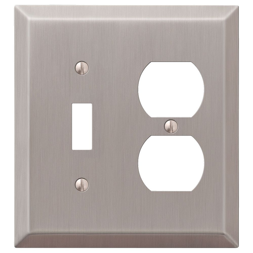 Amerelle Century 1 Toggle 1 Duplex Wall Plate Steel Brushed Nickel