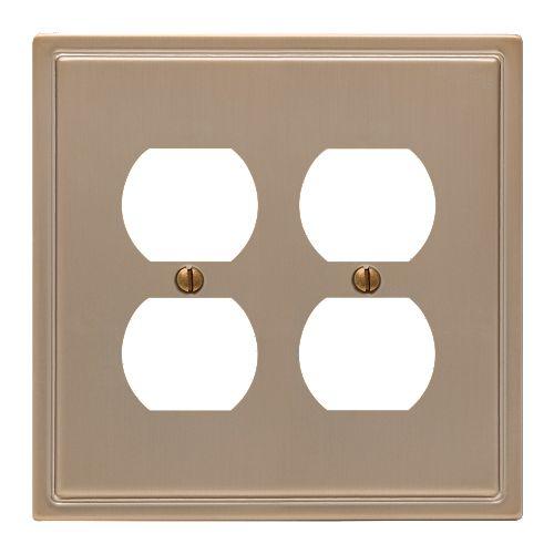 Amerelle Moderne 2 Duplex Wall Plate Steel Brushed Bronze