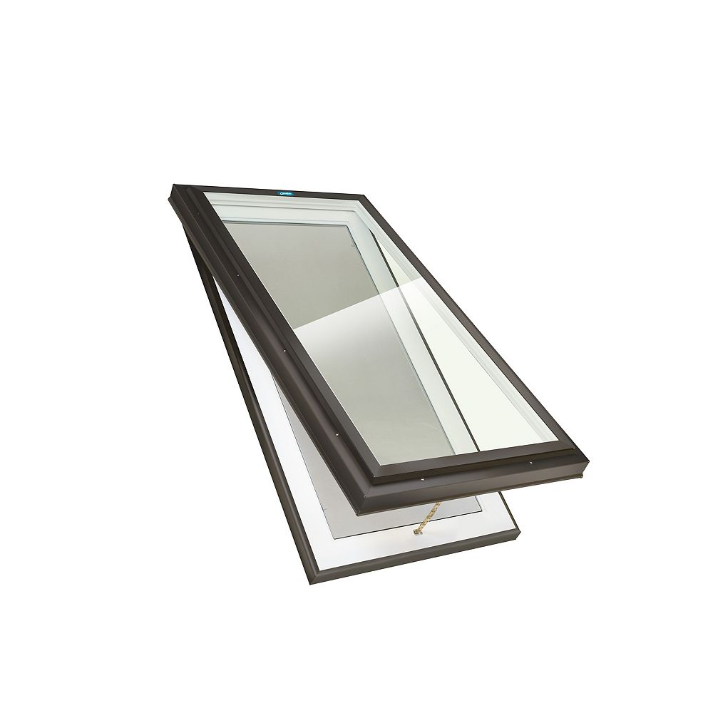 Columbia Skylights 3ft 2 in x 3ft 2in Manual Venting Curb Mount LoE3 Triple Glazed Clear Glass Skylight in Brown Frame