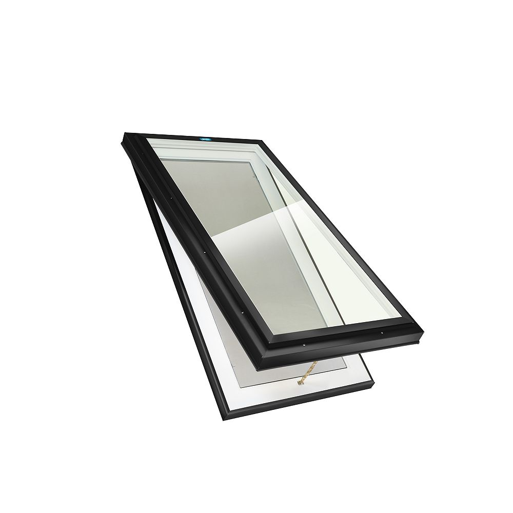 Columbia Skylights 3ft 2in x 3ft 2in Manual Venting Curb Mount LoE3 Double Glazed Clear Glass Skylight in Black Frame