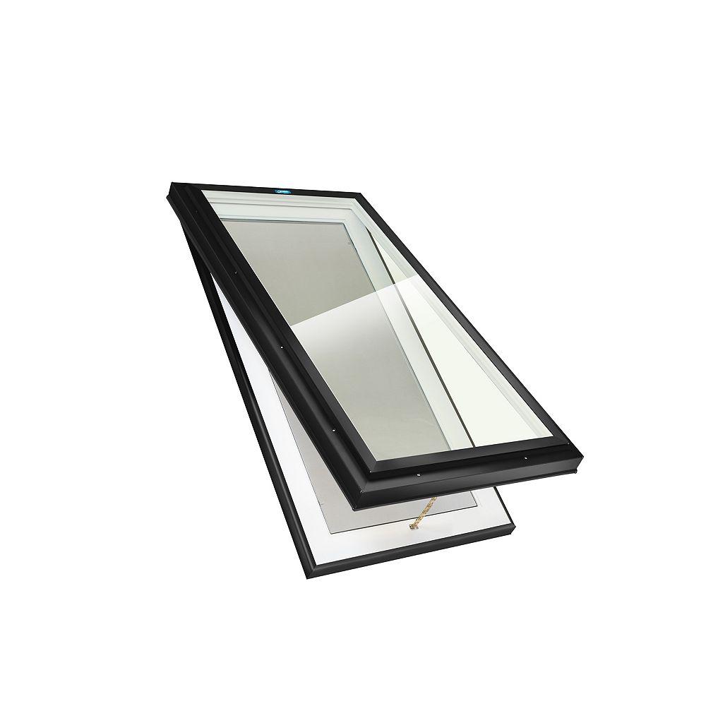 Columbia Skylights Puits de lumière monté sur cadre 2pi x 4pi ouverture manuelle, verre LoE3 Neat, cadre noir