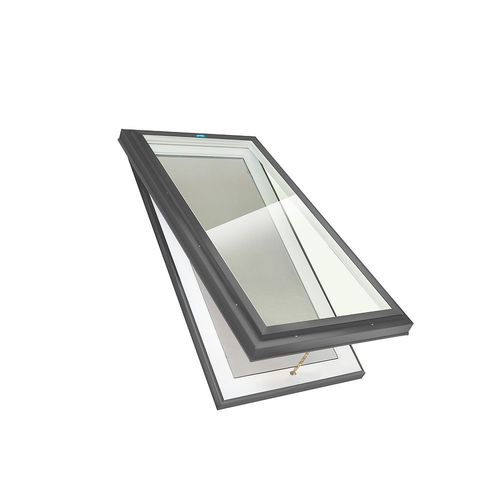 Columbia Skylights 2ft 8in x 2ft 8in Manual Venting Curb Mount LoE3 Double Glazed Neat Glass Skylight in Grey Frame