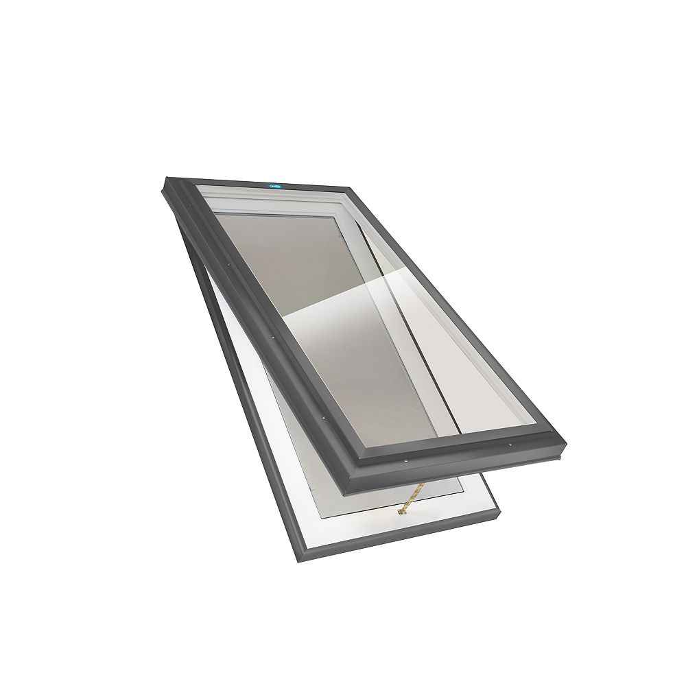 Columbia Skylights 3ft x 4ft Manual Venting Curb Mount LoE3 Double Glazed Bronze Glass Skylight in Grey Frame