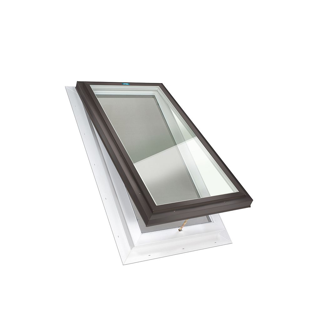 Columbia Skylights 2ft x 3ft Manual Venting Self Flashing LoE3 Double Glazed Clear Glass Skylight in Brown Frame