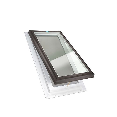 Columbia Skylights 2ft x 2ft 8in Manual Venting Self Flashing LoE3 Triple Glazed Clear Glass Skylight in Brown Frame