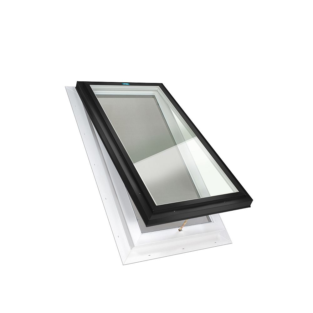 Columbia Skylights 2ft x 3ft Manual Venting Self Flashing LoE3 Double Glazed Clear Glass Skylight in Black Frame