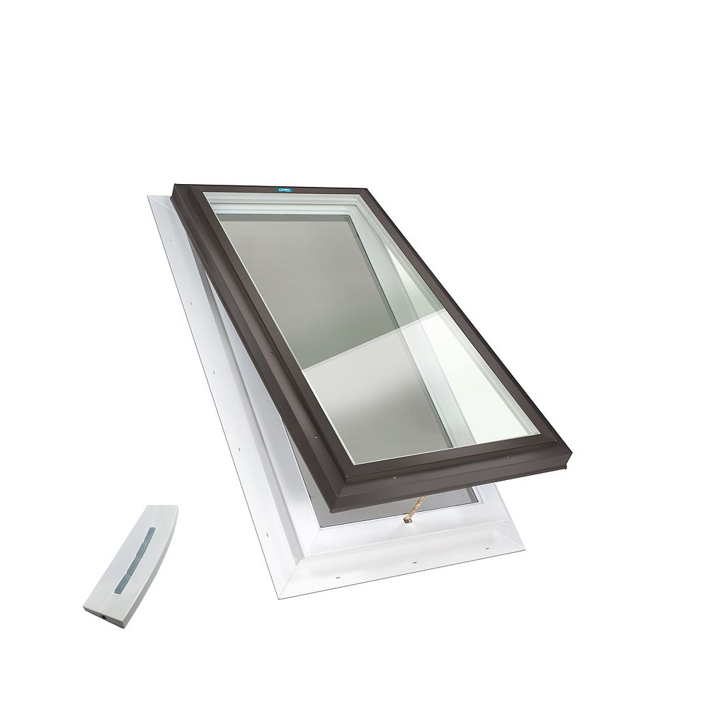 Columbia Skylights 2ft x 3ft Electric Standard Venting Self Flashing Double Glazed Glass Skylight in Brown Frame