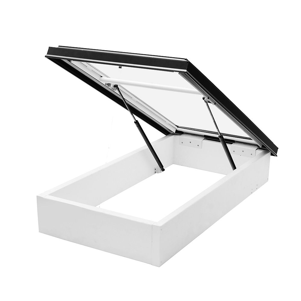 Columbia Skylights Puits de lumière trappe d'accès au toit 2pi x 4pi, verre double transparent LoE3, cadre noir