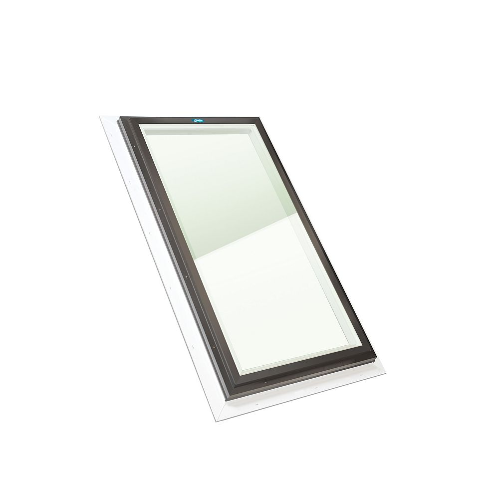 Columbia Skylights 4ft x 4ft Fixed Self Flashing LoE3 Double Glazed Clear Glass Skylight in Brown Frame