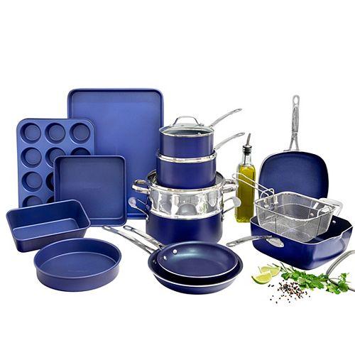 Batterie de cuisine 20 pièces bleue classique ultra durable anti adhésive infusée de diamant