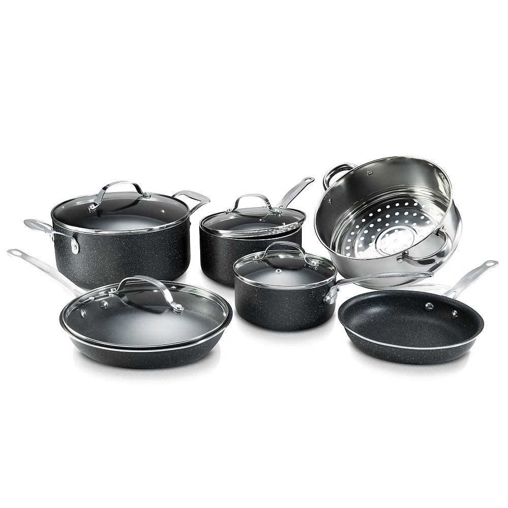 Granite Stone Diamond 10-Piece Aluminum Ultra-Durable Non-Stick Diamond Infused Cookware Set with Glass Lids
