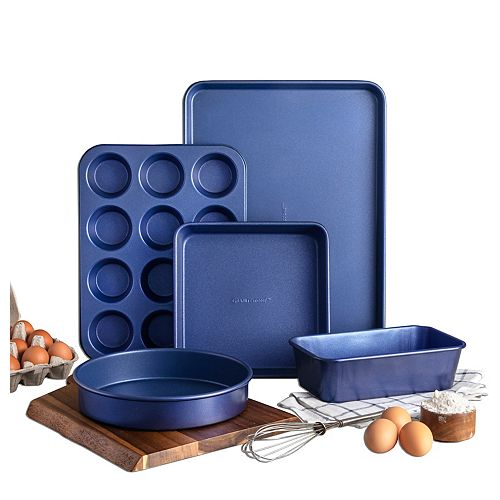 Blue Pro 5 pièces 0.8MM d'épaisseur de diamant et minéraux  Nonstick Batterie de cuisine au four