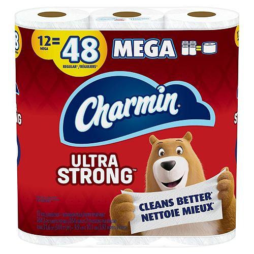 Charmin Ultra Strong Toilet Paper, 12 Mega Rolls = 48 Regular Rolls, 12 Count