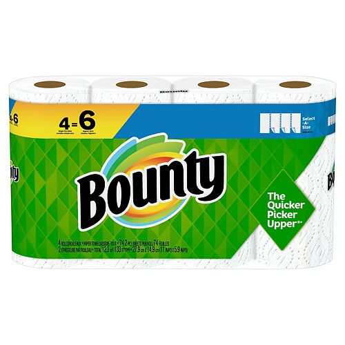 Bounty Select-A-Size Paper Towels, White, 4 Single Plus Rolls = 6 Regular Rolls, 4 Count