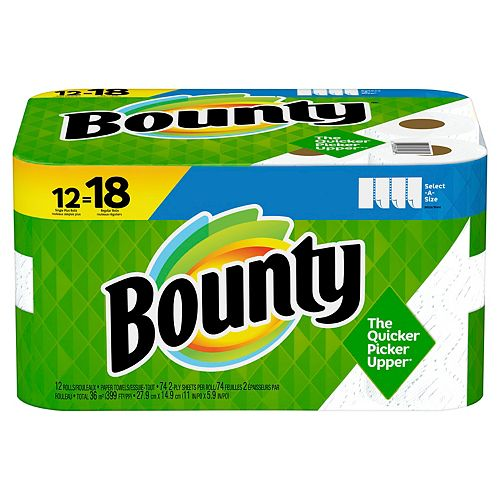 Bounty Select-A-Size Paper Towels, White, 12 Single Plus Rolls = 18 Regular Rolls, 12 Count