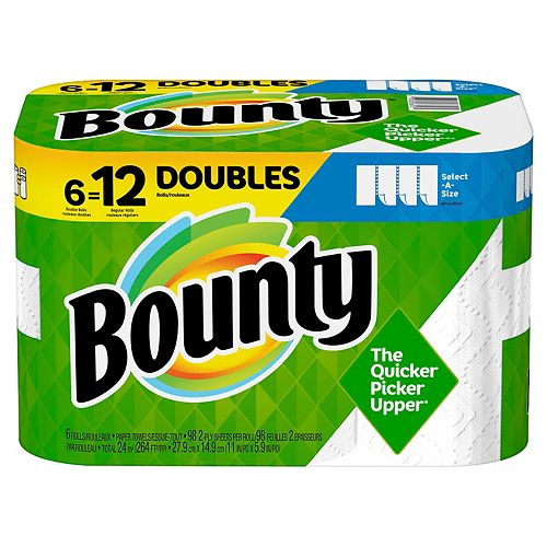 Bounty Select-A-Size Paper Towels, White, 6 Double Rolls = 12 Regular Rolls, 6 Count