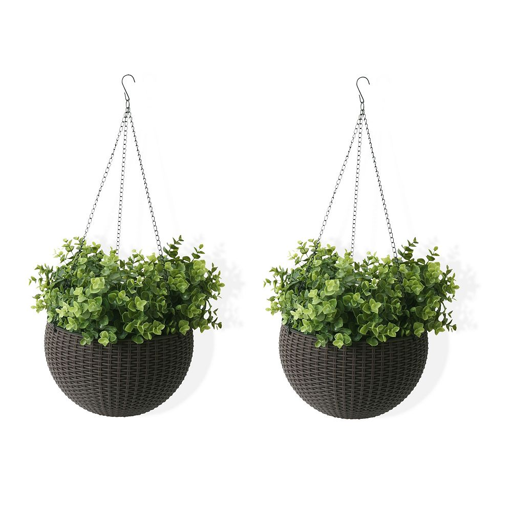 "Home Depot Wicker 10"" Hanging Basket Planter with Watering Tray, Rattan Mocha, 2 Pack"