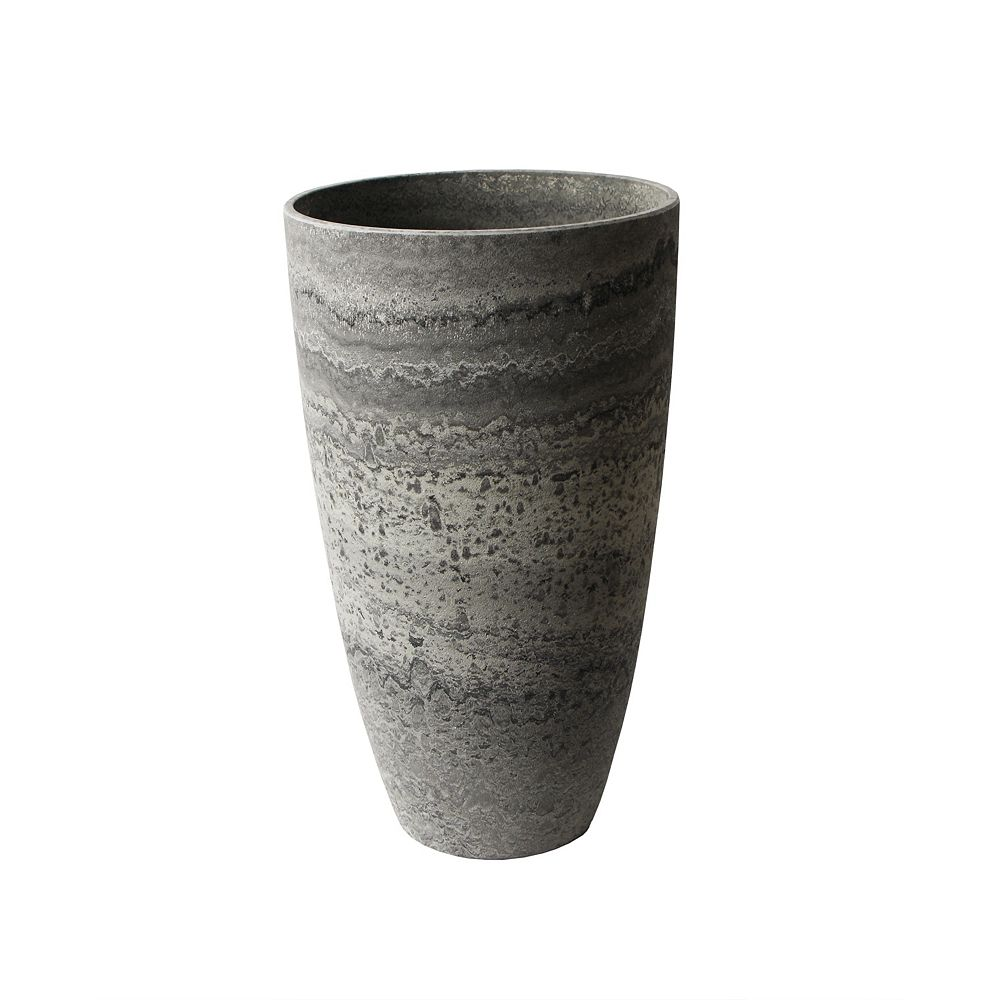 Home Depot Acerra Planter, Curved Vase Planter, 11.5-In. Diameter by 20-In. H, Marble