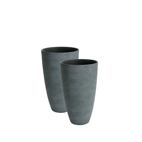 Acerra Planter, 2 Curved Vase Planters, 11.5-In. Diameter by 20-In. H, Grey Stucco, 2 Pack