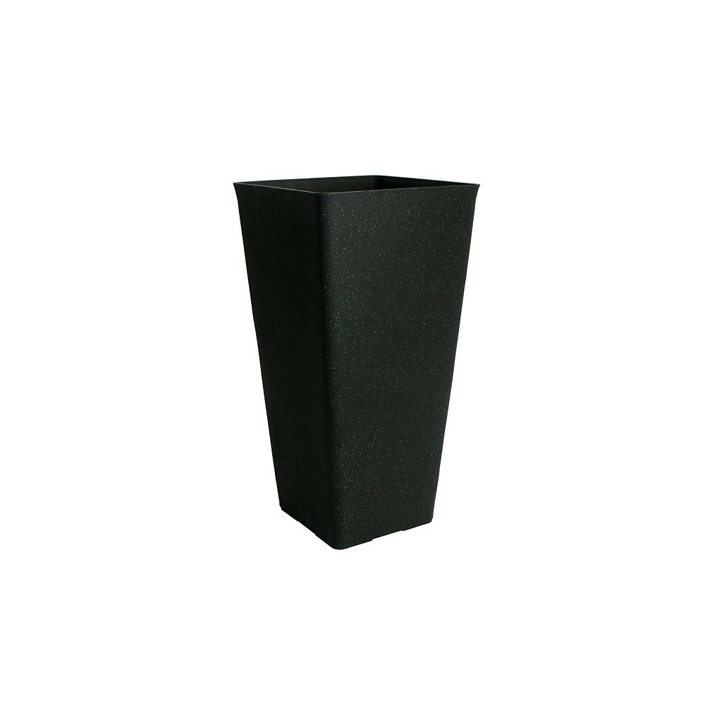 Home Depot Acerra Planter, Square Taper 13-In. by 25-In. Height, Black Stucco
