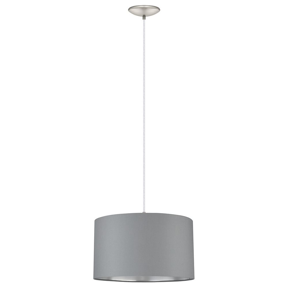 Eglo Maserlo 1-Light Pendant, Silver and Satin Nickel