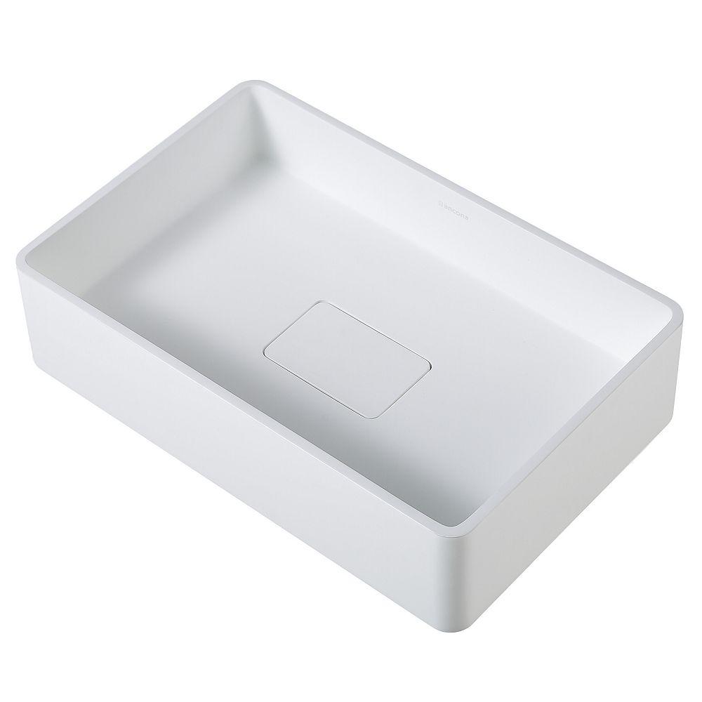Ancona Holbrook Pure Stone Rectangular Vessel 20.8 inch Bathroom Sink in White