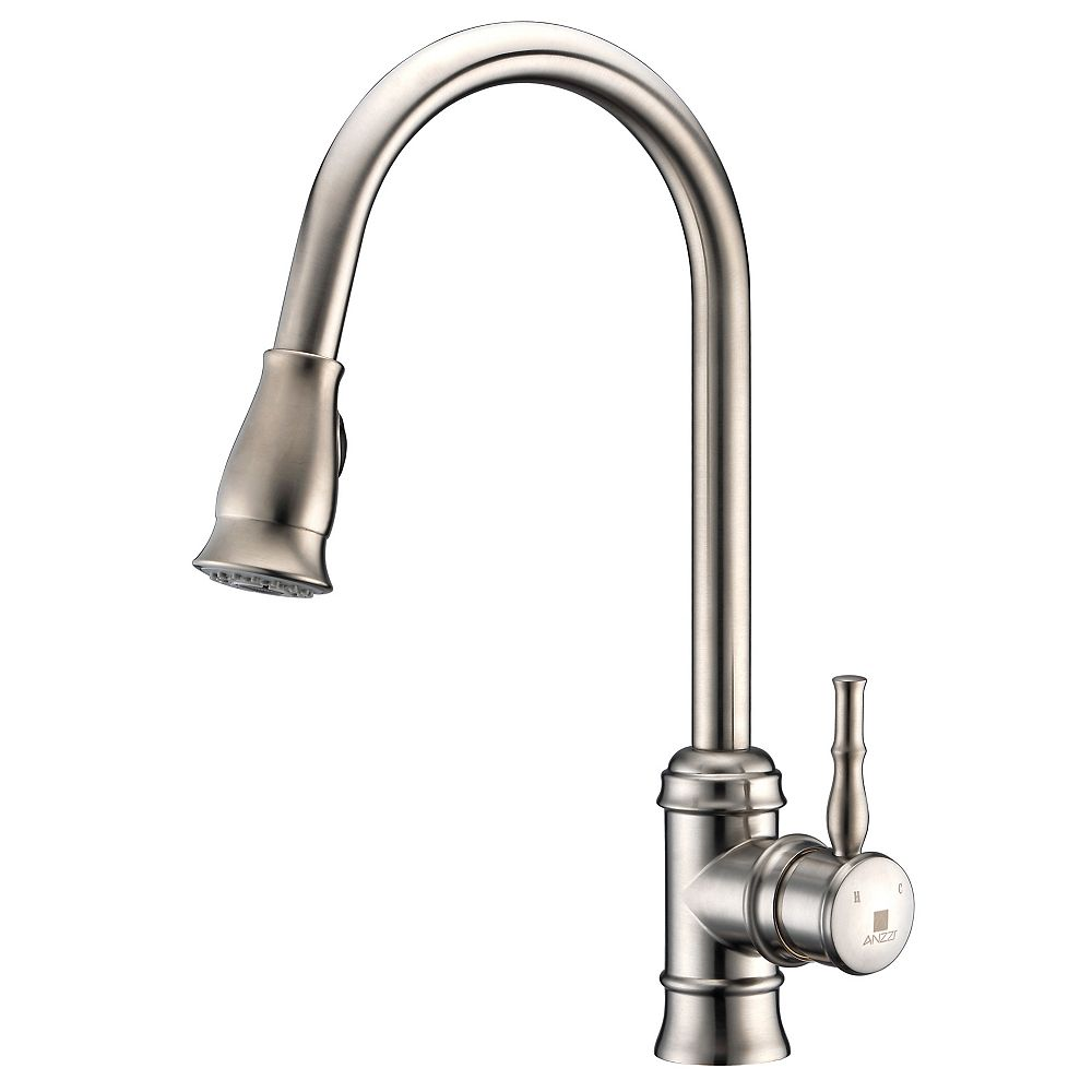 ANZZI Sails Pull Down Single Handle Kitchen Faucet in Brushed Nickel