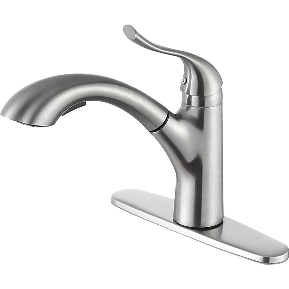 ANZZI Navona Single-Handle Pull-Out Sprayer Kitchen Faucet in Brushed Nickel