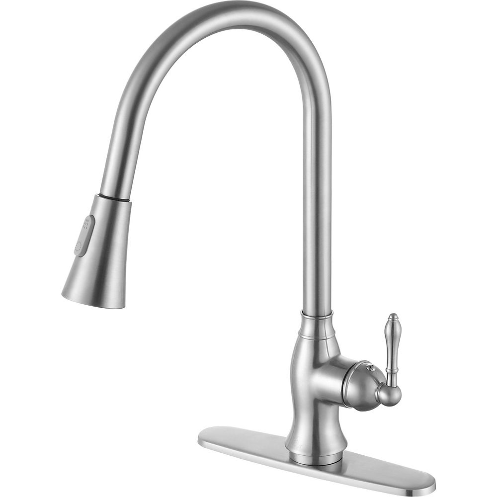 ANZZI Rodeo Single-Handle Pull-Out Sprayer Kitchen Faucet in Brushed Nickel