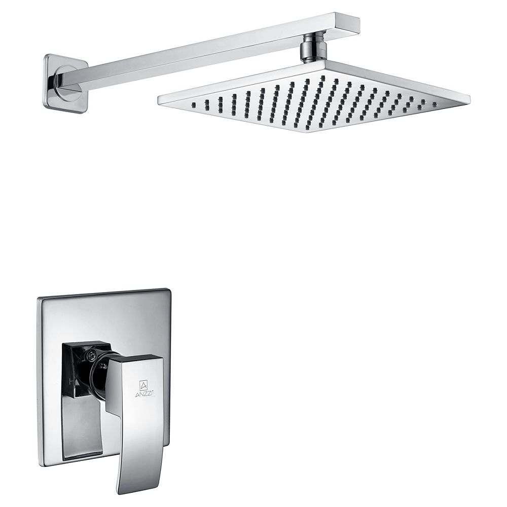 ANZZI Viace Series 1-Spray 12.55-inch Fixed Showerhead in Polished Chrome