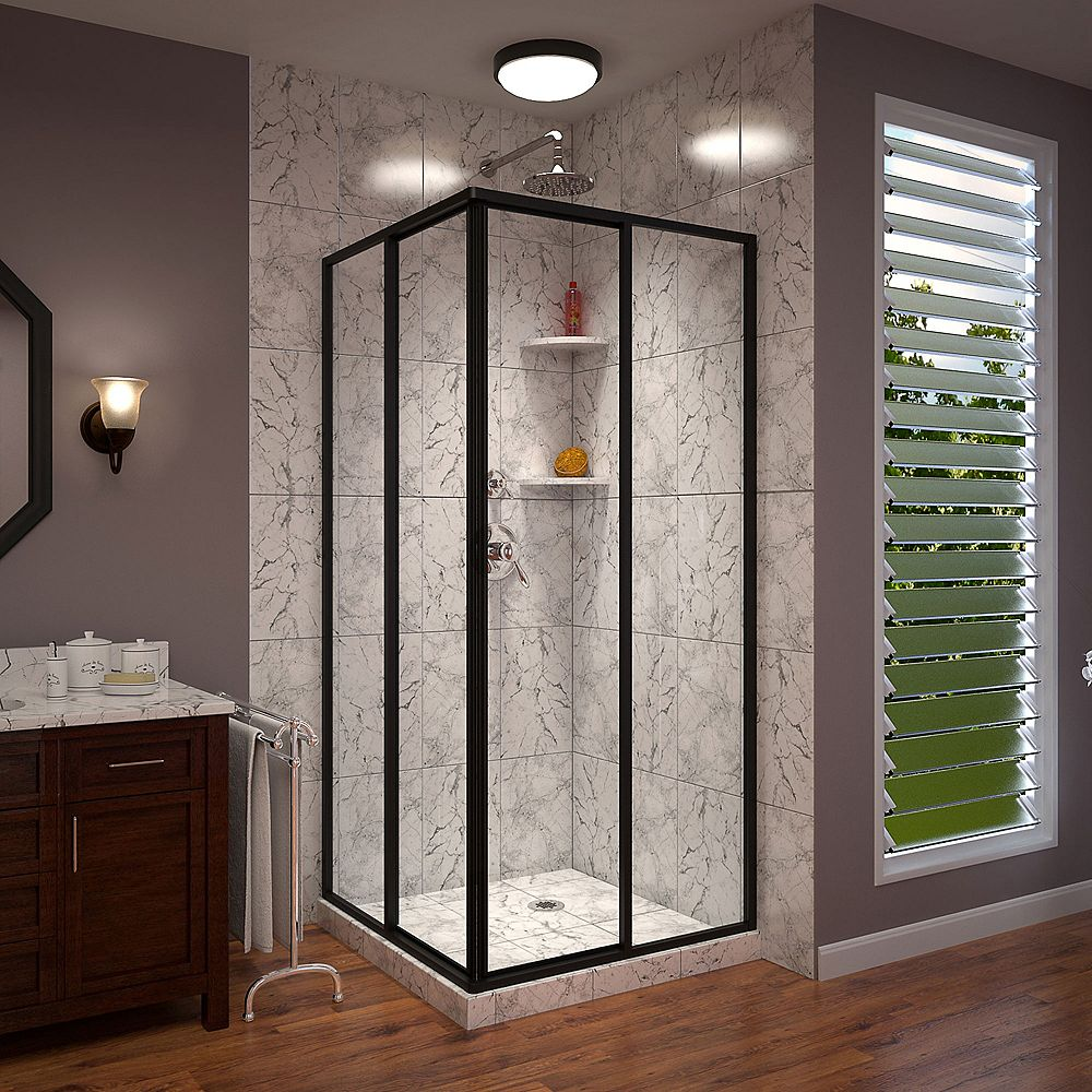 DreamLine Cornerview 34 1/2 inch D x 34 1/2 inch W x 72 inch H Sliding Shower Enclosure in Satin Black