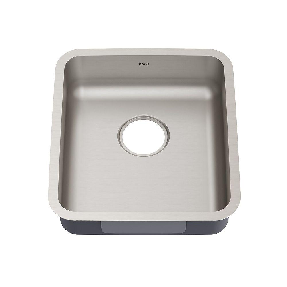 Kraus Dex 17 Undermount 16 Gauge Antibacterial Stainless Steel Single Bowl ADA Kitchen Sink