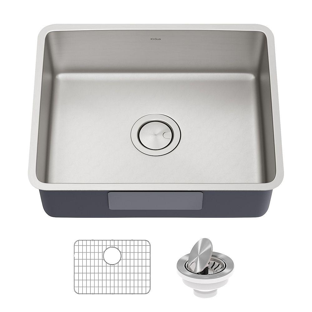Kraus Dex 21 Undermount 16 Gauge Antibacterial Stainless Steel Single Bowl Kitchen Sink