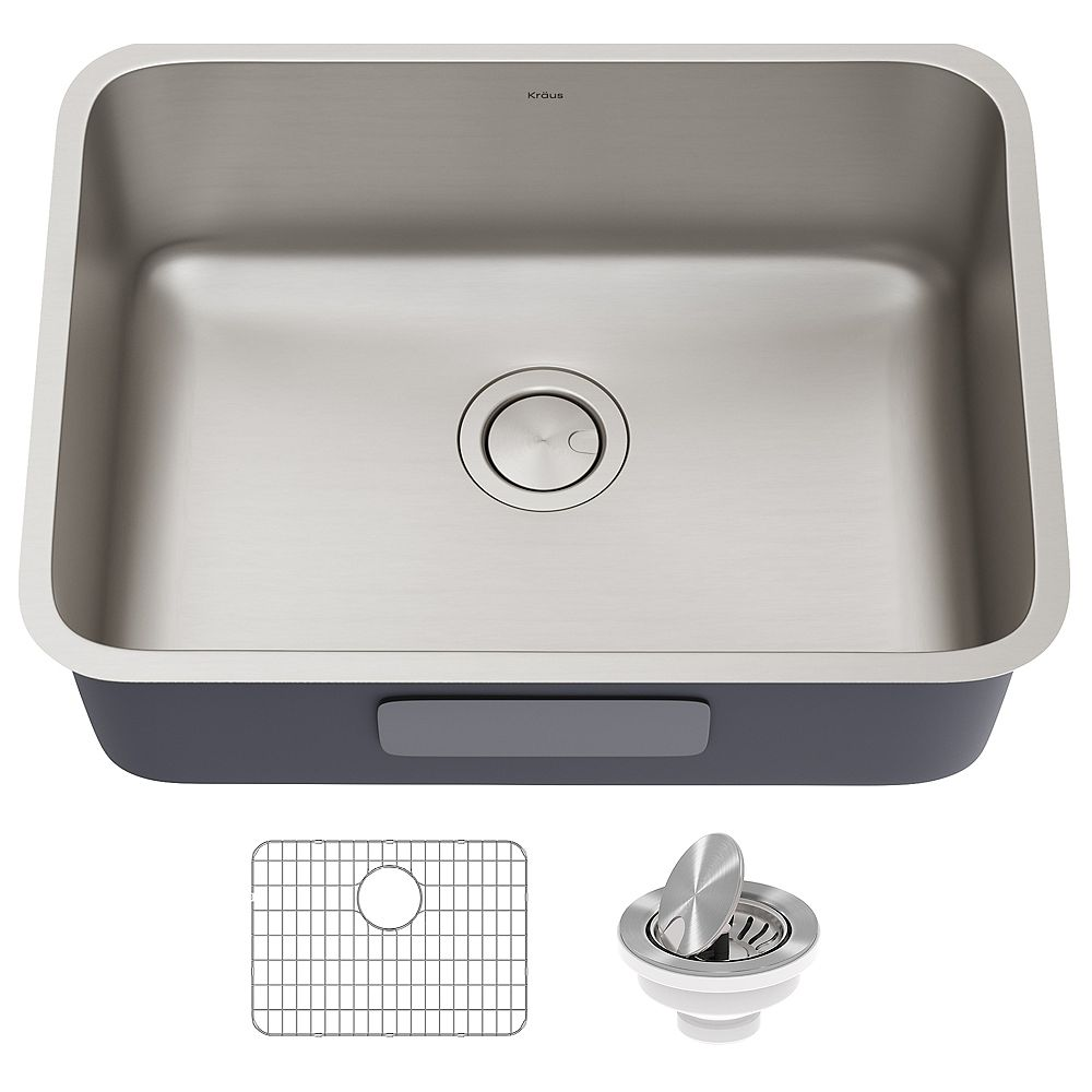 Kraus Dex 25 Undermount 16 Gauge Antibacterial Stainless Steel Single Bowl Kitchen Sink