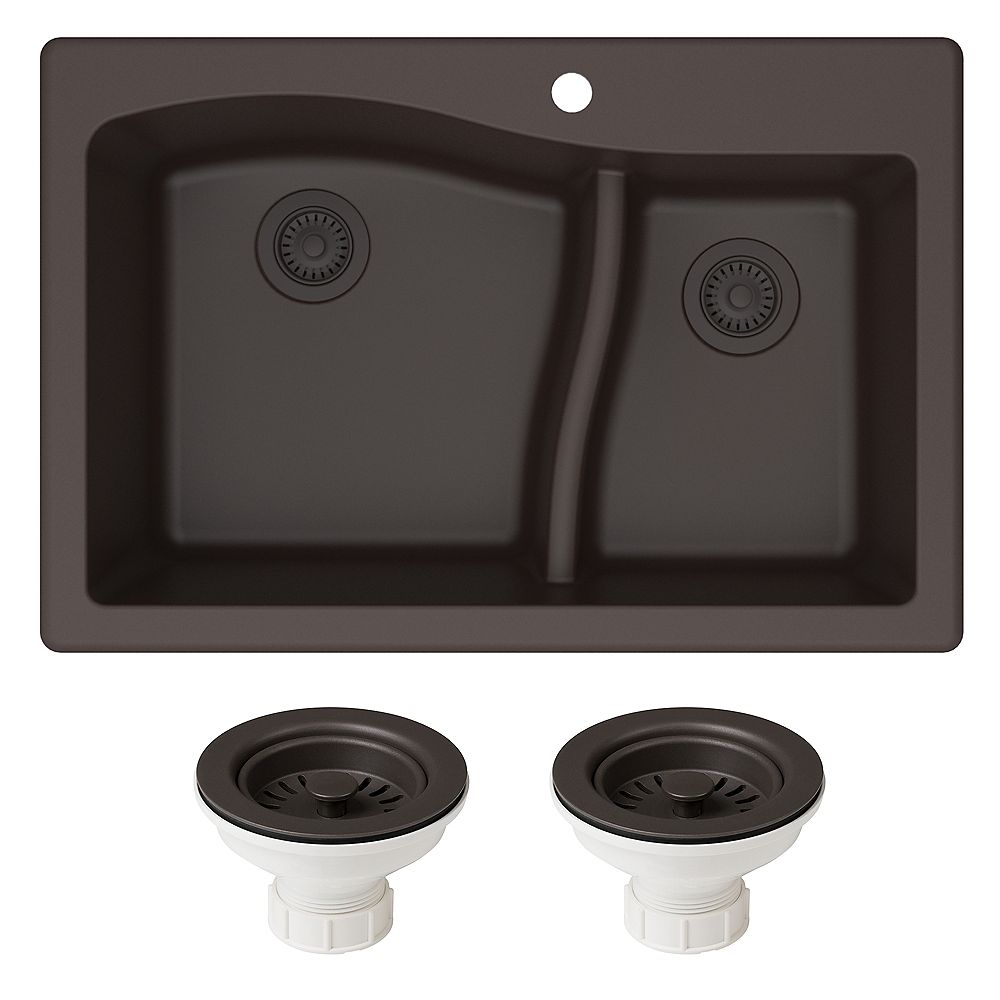 Kraus Quarza 33 Dual Mount 60/40 Double Bowl Granite Kitchen Sink and Strainers in Brown