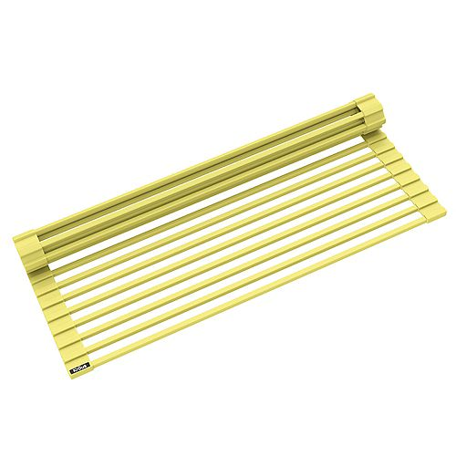 Kraus Multipurpose Over-Sink Roll-Up Dish Drying Rack in Yellow