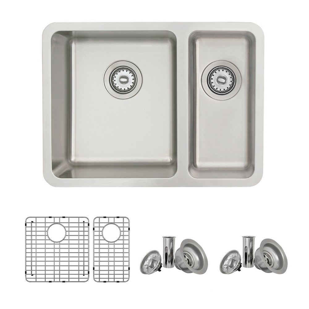 Stylish 23.7 L x 18 W-inch Dualmount Double BowlStrainless Steel Kitchen Sink with Grids and Strainers