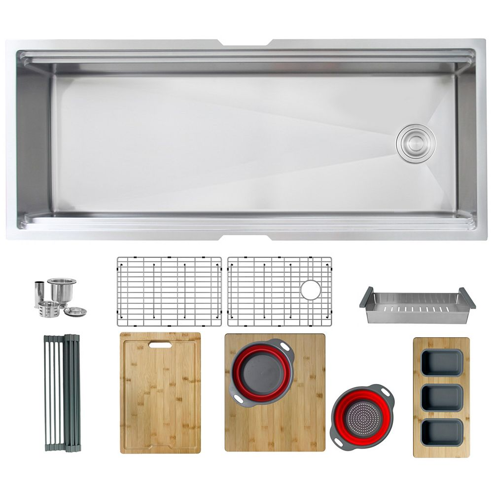 Stylish 45 L x 19 W-inch Undermount Single Bowl 16G Kitchen Sink Workstation with Accessories