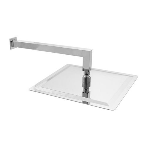 Extra Long Stainless Steel 13 inch Replacement Shower Arm with Flange Square Shower Head