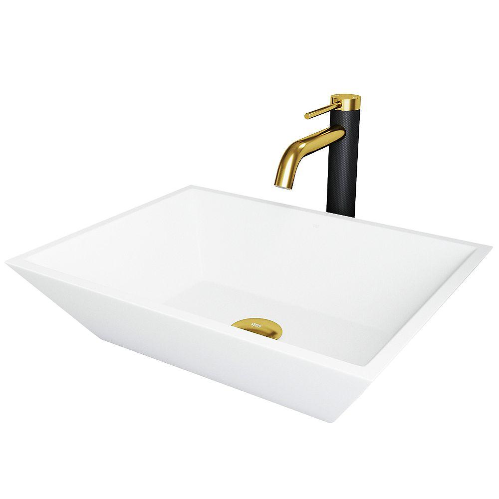 VIGO Vinca Matte StoneTM Vessel Bathroom Sink and Faucet in Matte Brushed Gold and Matte Black
