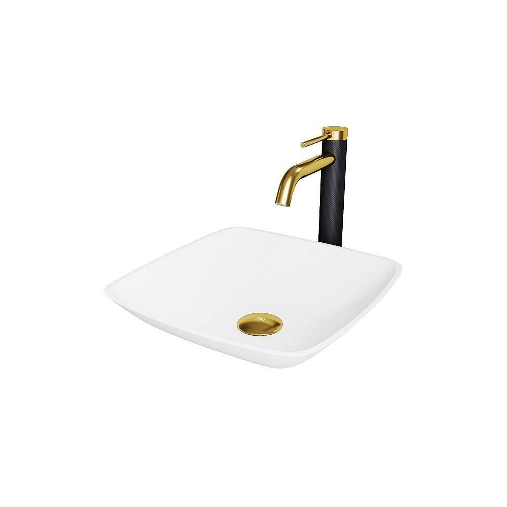VIGO Hyacinth Matte StoneTM Vessel Bathroom Sink and Faucet in Matte Gold and Matte Black
