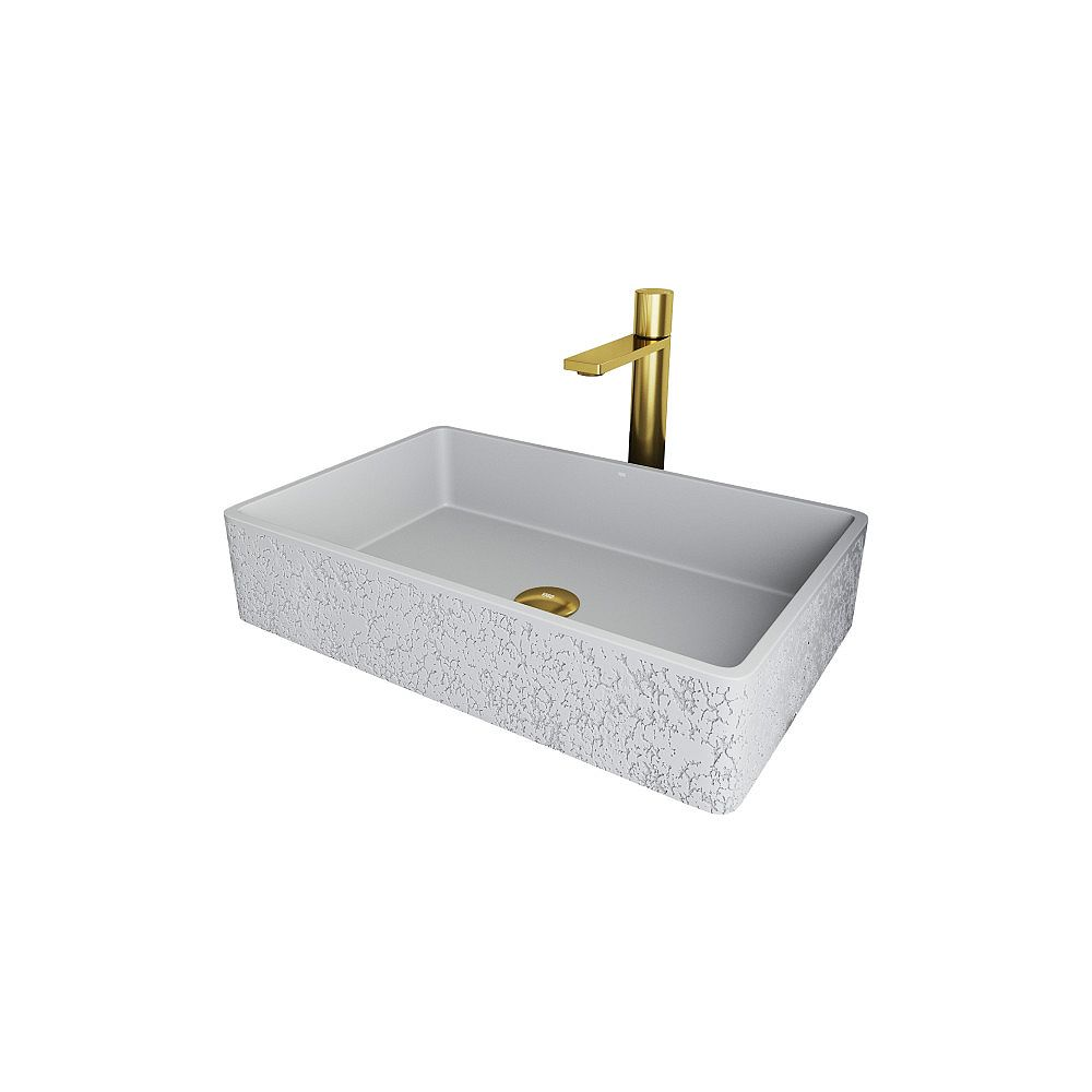 VIGO Rectangular Dahlia Cast StoneTM Vessel Bathroom Sink and Gotham Faucet in Matte Brushed Gold