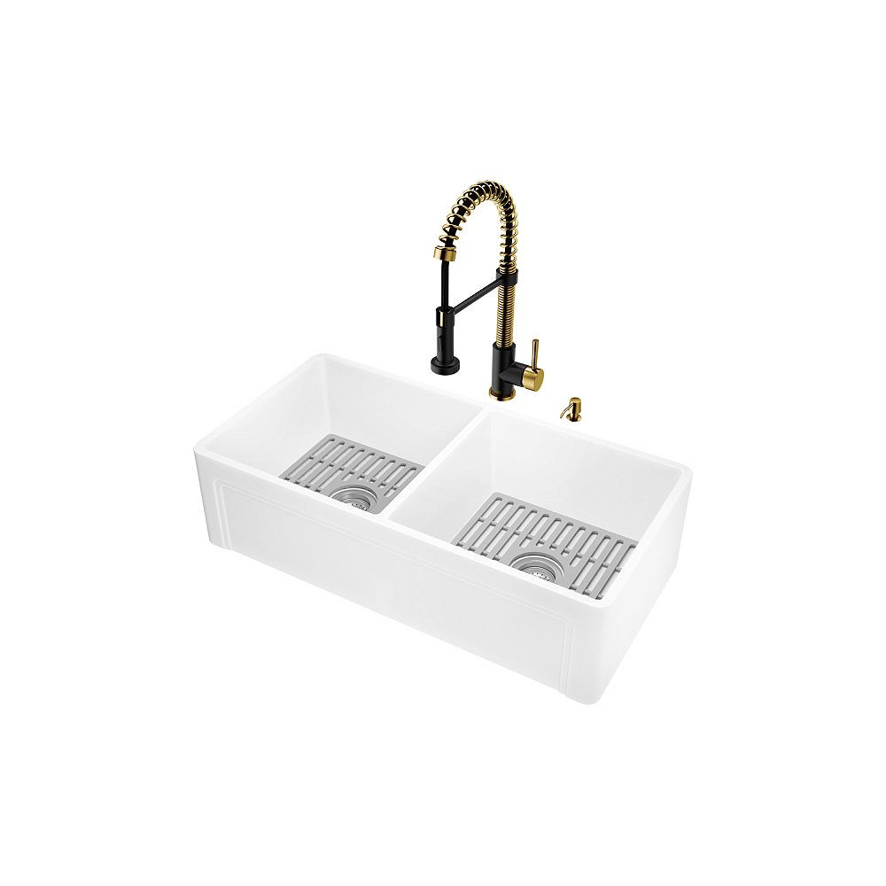 VIGO Matte StoneTM Double Bowl Kitchen Sink Set with Faucet in Matte Brushed Gold and Matte Black