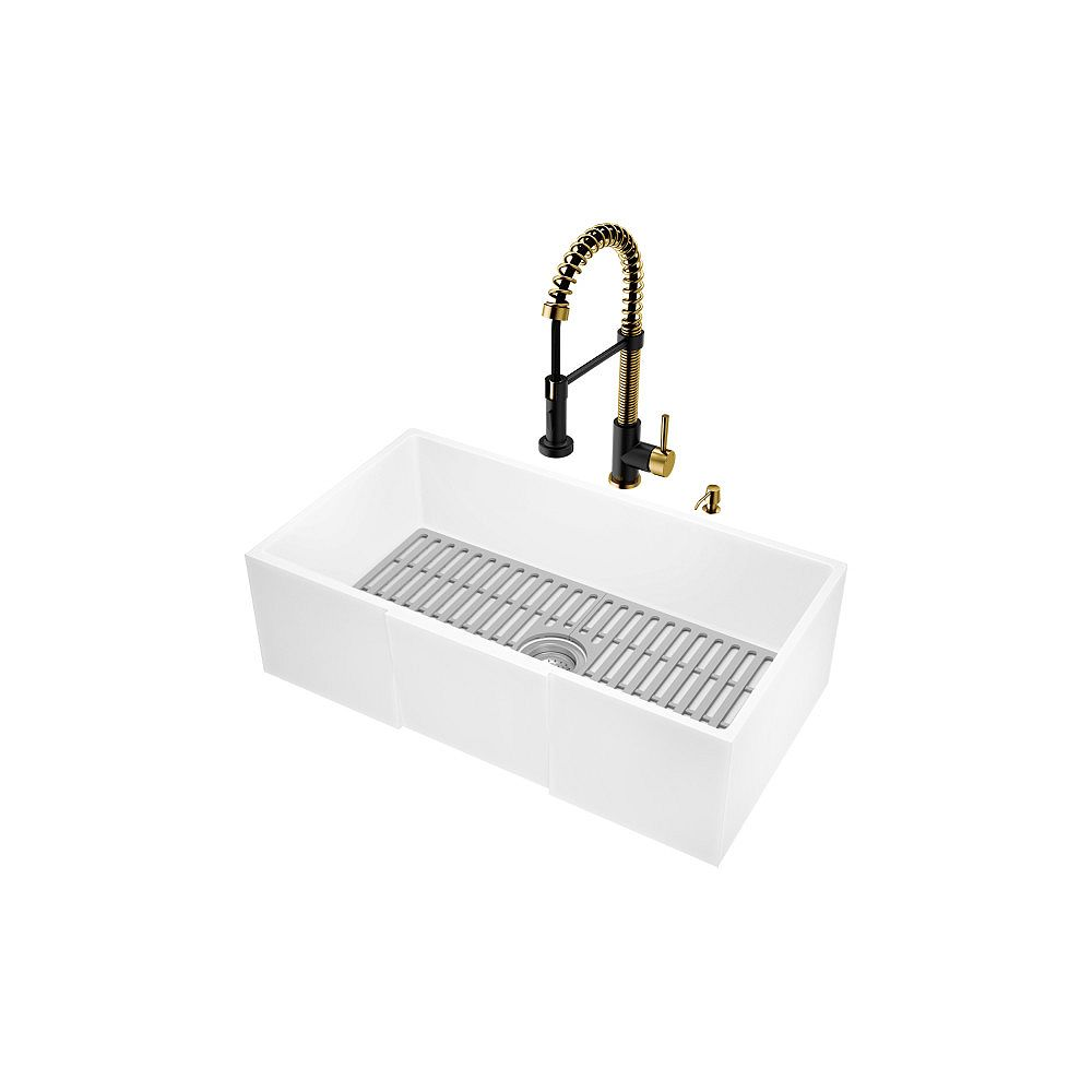 VIGO Matte StoneTM Kitchen Sink with Edison Faucet in Matte Brushed Gold and Matte Black