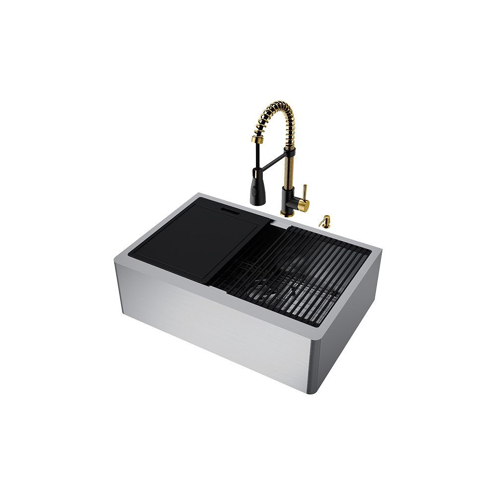VIGO Single Bowl Stainless Steel Farmhouse Kitchen Sink with Faucet in Matte Brushed Gold and Matte Black
